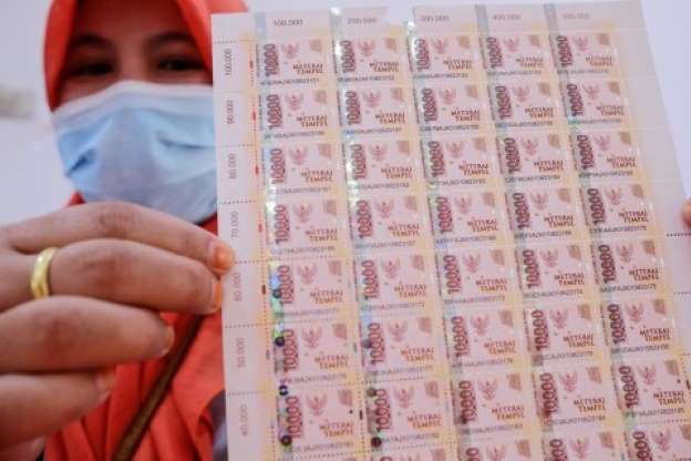 Wujud Meterai Rp10.000 yang Mulai Diedarkan di Kantor Pos